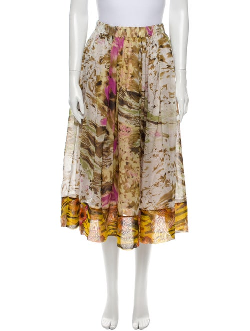 Duro Olowu Floral Print Midi Length Skirt Yellow