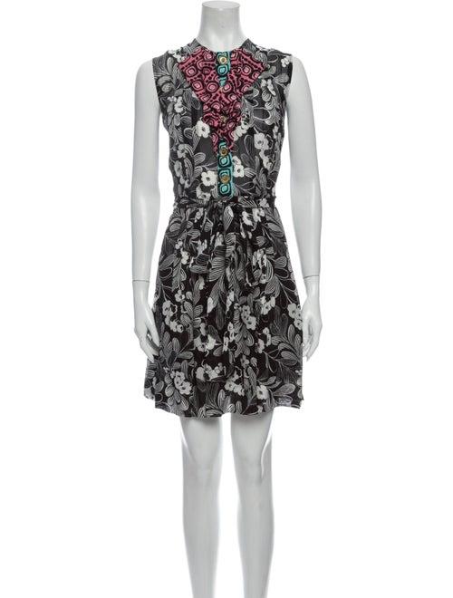 Duro Olowu Floral Print Knee-Length Dress Black