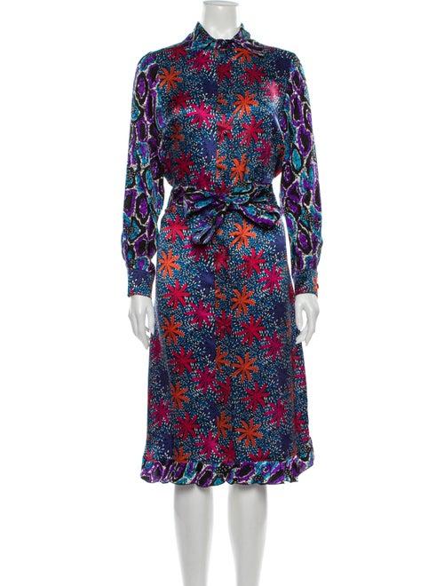 Duro Olowu Silk Midi Length Dress Blue