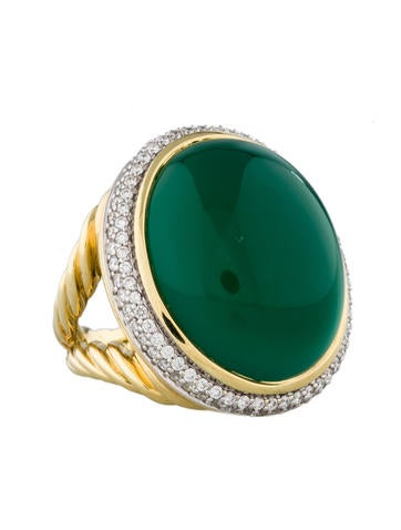 Green Onyx and Diamond Oval Ring