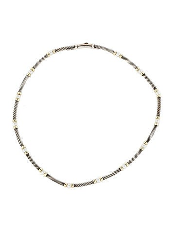 Sterling Silver and 14K Pearl Cable Choker
