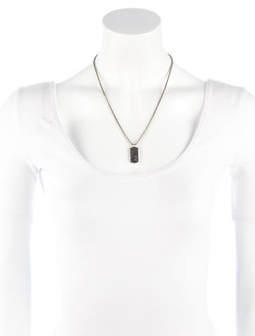 Black Diamond Dog Tag Necklace