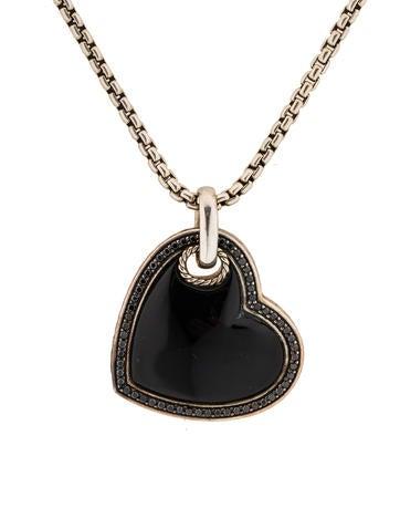 Black Diamond and Black Onyx Heart Pendant on Chain