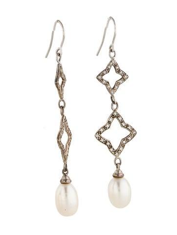 Diamond And Pearl Quatrefoil Earrings