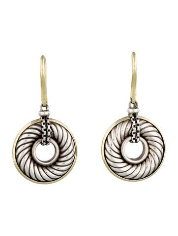 Cable Disc Drop Earrings