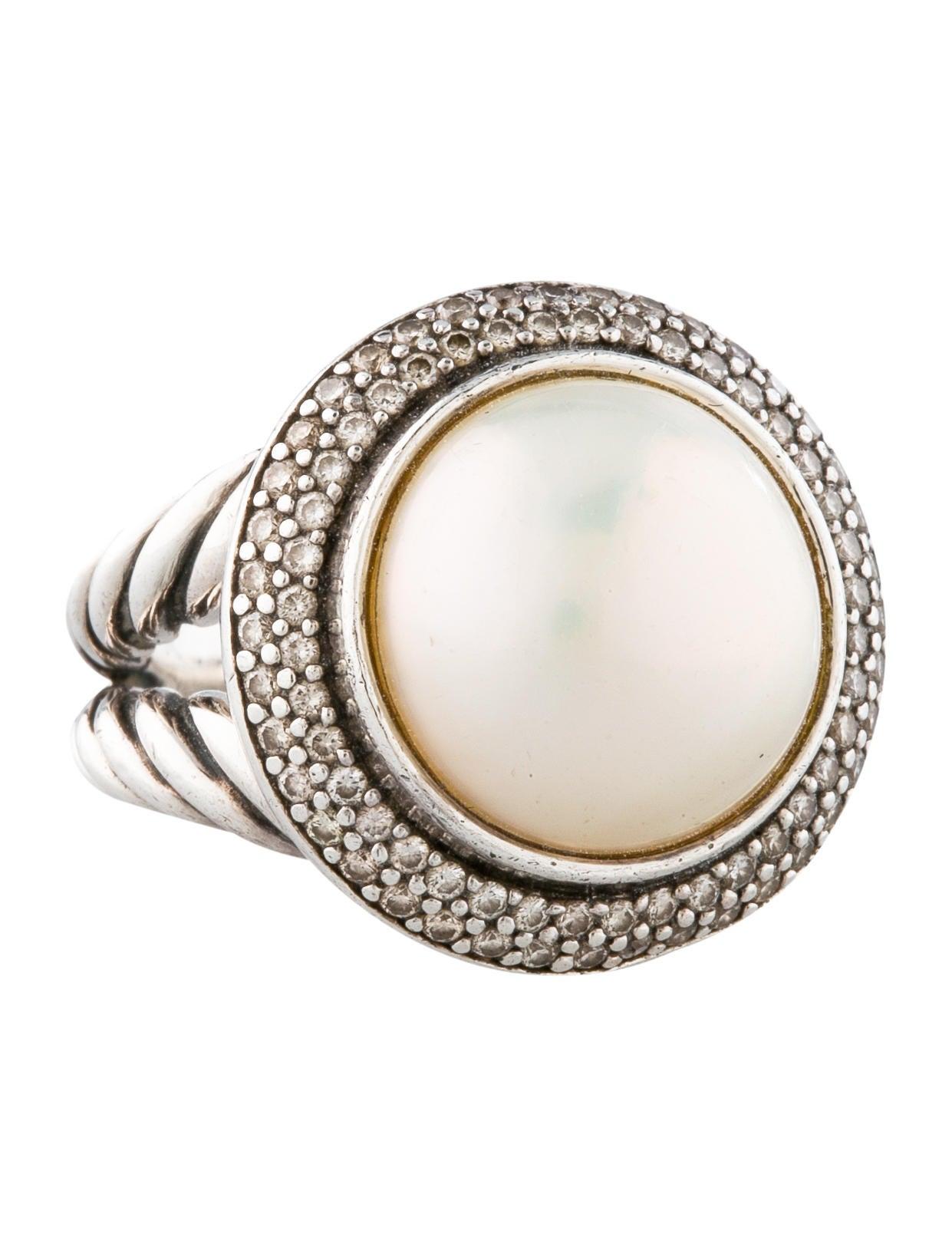 david yurman pearl and diamond cerise ring rings. Black Bedroom Furniture Sets. Home Design Ideas