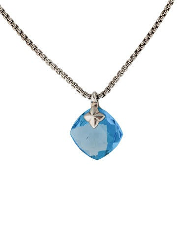 Cushion On Point Topaz and Diamond Pendant Necklace