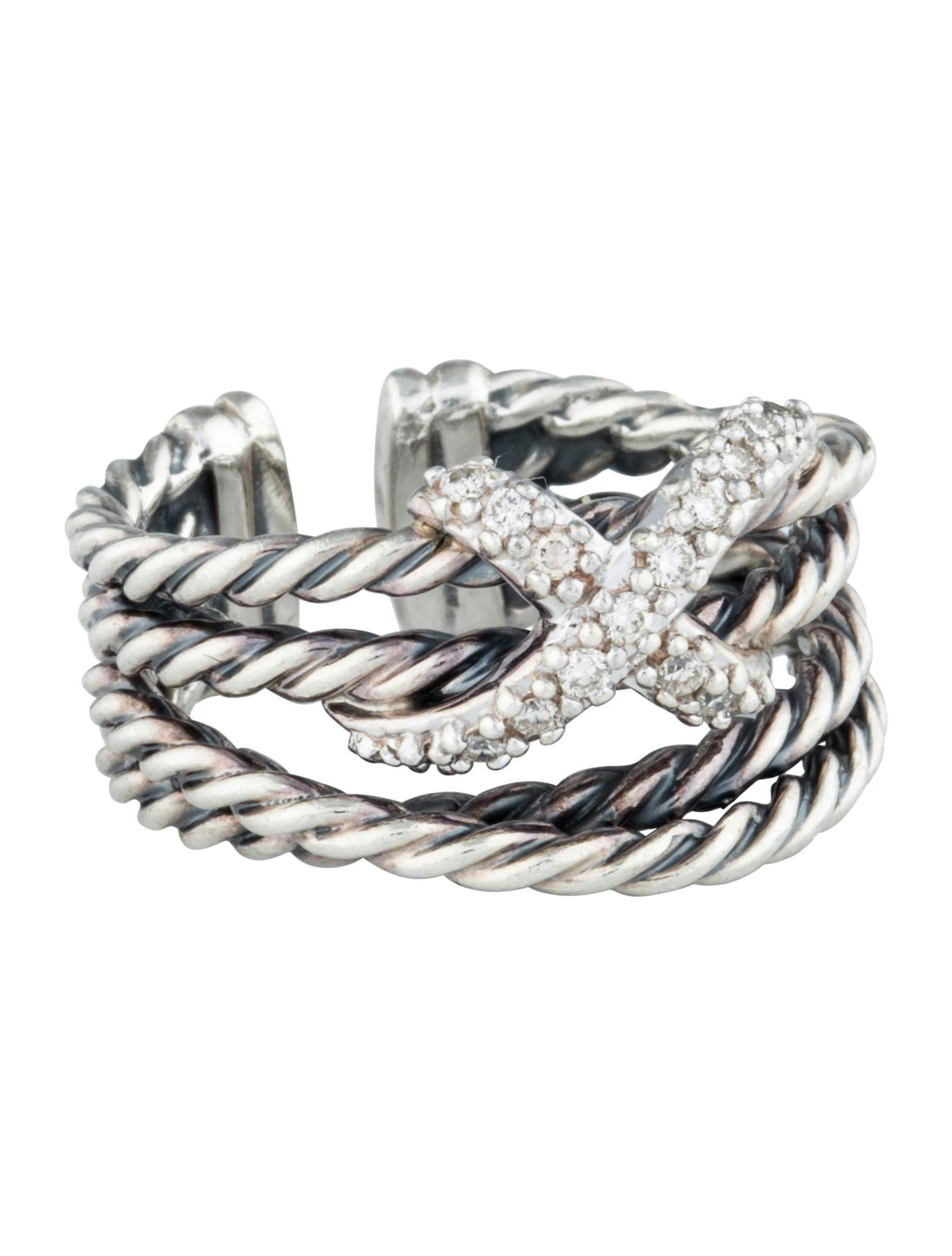 david yurman diamond x cable ring rings dvy25629 the. Black Bedroom Furniture Sets. Home Design Ideas