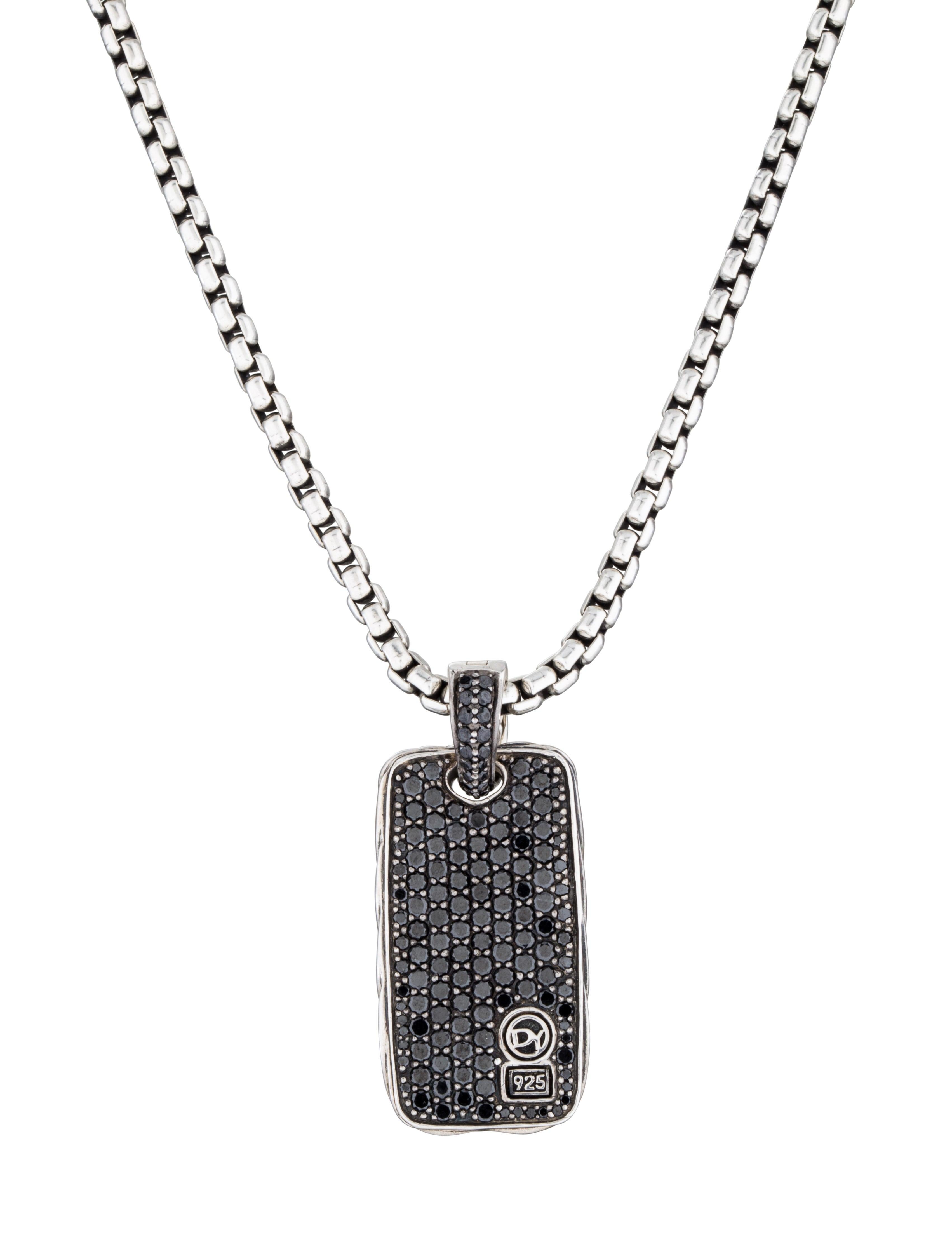 David Yurman Black Diamond Dog Tag Necklace Necklaces DVY