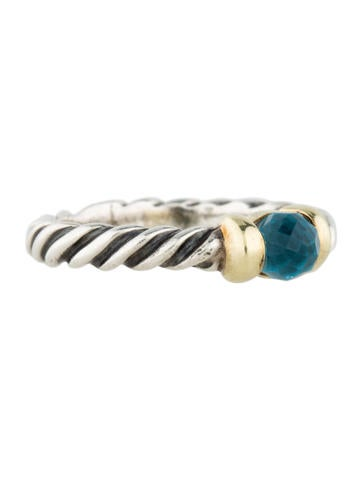 Two-Tone Blue Topaz Metro Ring