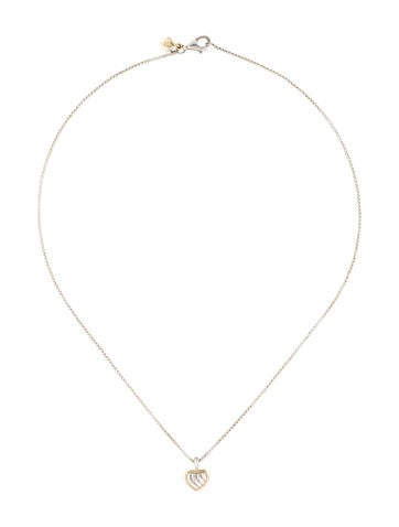 Two-Tone Cable Heart Pendant Necklace