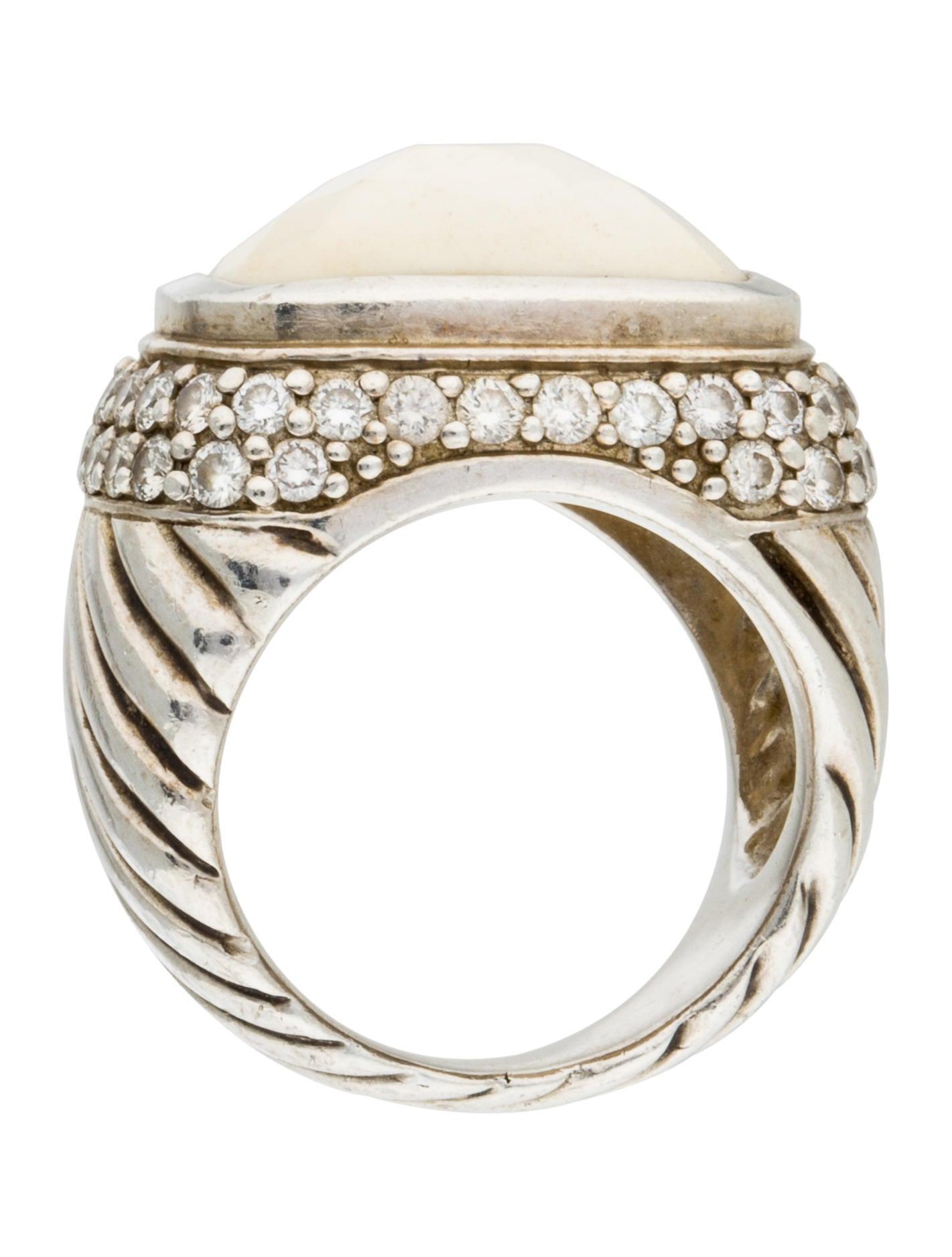 David yurman white agate diamond ring rings dvy32324 for David yurman inspired jewelry rings