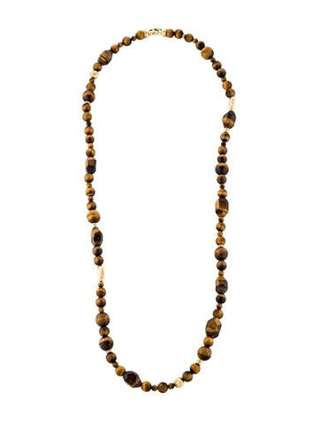 David Yurman 18K Tiger's Eye Bead Necklace