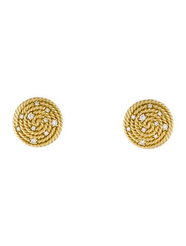David Yurman 18K Diamond Cable Coil Earrings