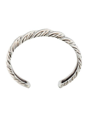 David Yurman Sculpted Diamond Cable Cuff 1 on table and chairs set 6