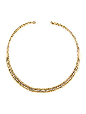 David Yurman 18K Two-Tone Diamond Cable Collar Necklace