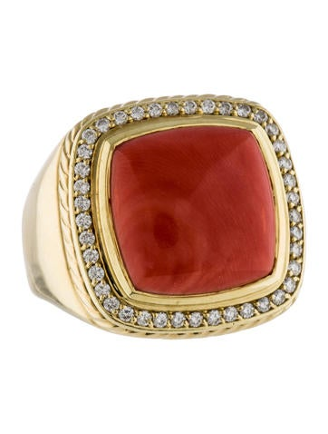 David Yurman Large Albion Coral & Diamond Ring
