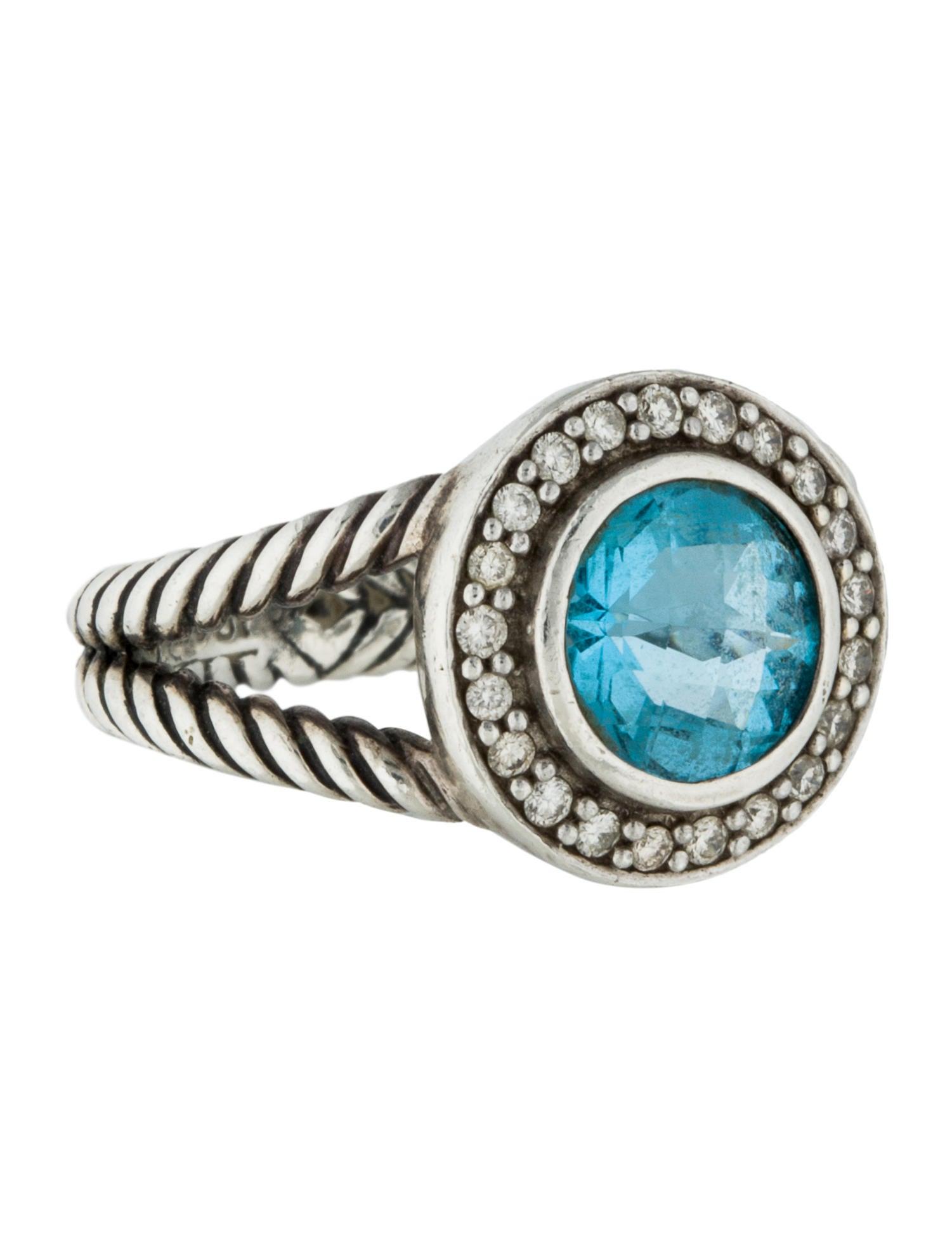 David yurman blue topaz diamond cerise ring rings for David yurman inspired jewelry rings