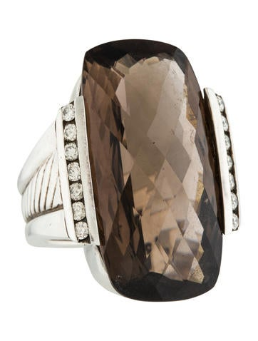 David Yurman Smoky Quartz & Diamond Cocktail Ring