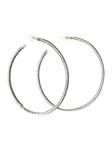 David Yurman Black Diamond Hoop Earrings