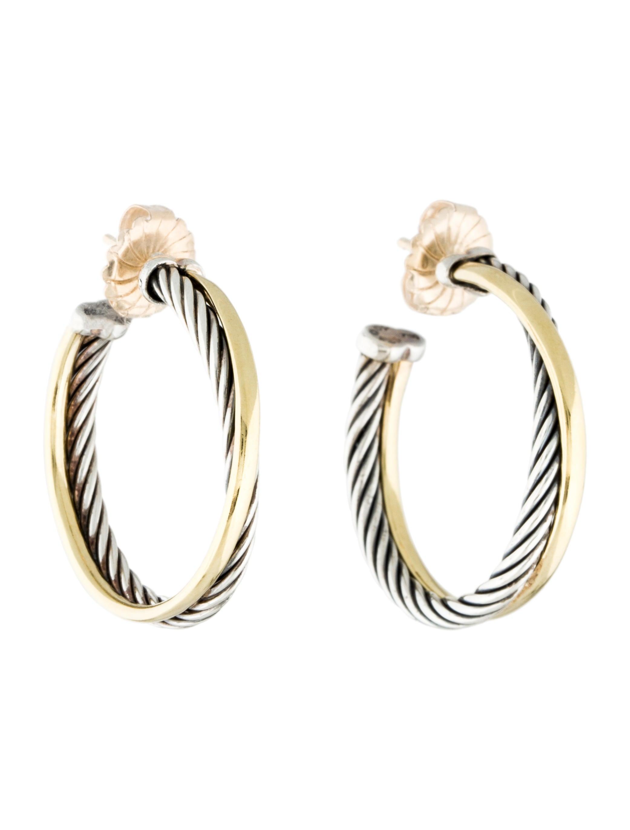 david yurman two tone medium crossover hoop earrings