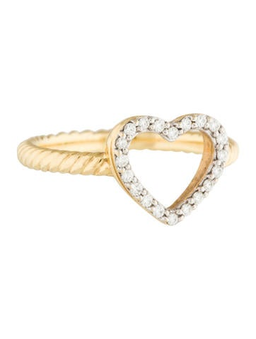 David Yurman 18k Diamond Heart Ring Rings Dvy36614