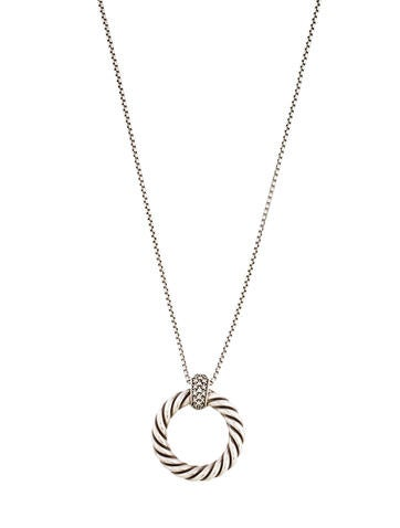 David Yurman Diamond Cable Pendant Necklace
