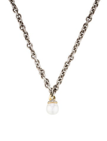 David Yurman Two Tone Pearl & Diamond Drop Pendant Necklace