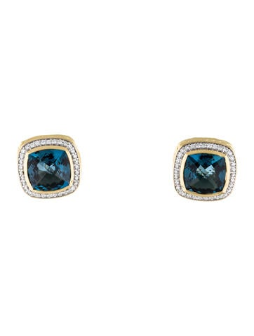 David Yurman Albion Blue Topaz & Diamond Ear Clips