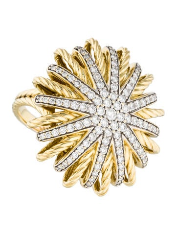 David Yurman 18K Diamond Starburst Ring