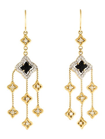 David Yurman 18K Onyx & Diamond Quatrefoil Drop Earrings