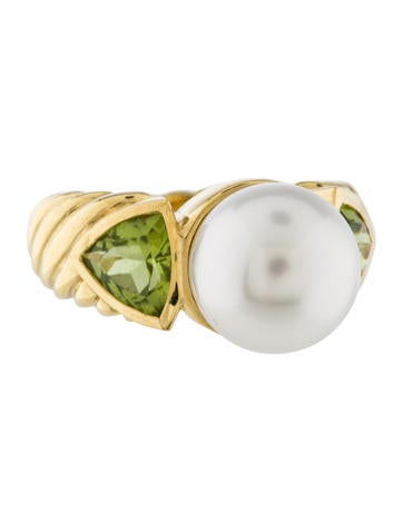 David Yurman 18K Pearl & Peridot Cocktail Ring