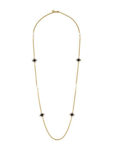 David Yurman 18K Onyx, Pearl & Diamond Quatrefoil Station Necklace