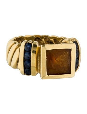 David Yurman 18K Citrine & Blue Sapphire Cocktail Ring