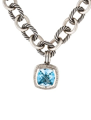 David Yurman Blue Topaz & Diamond Pendant Necklace