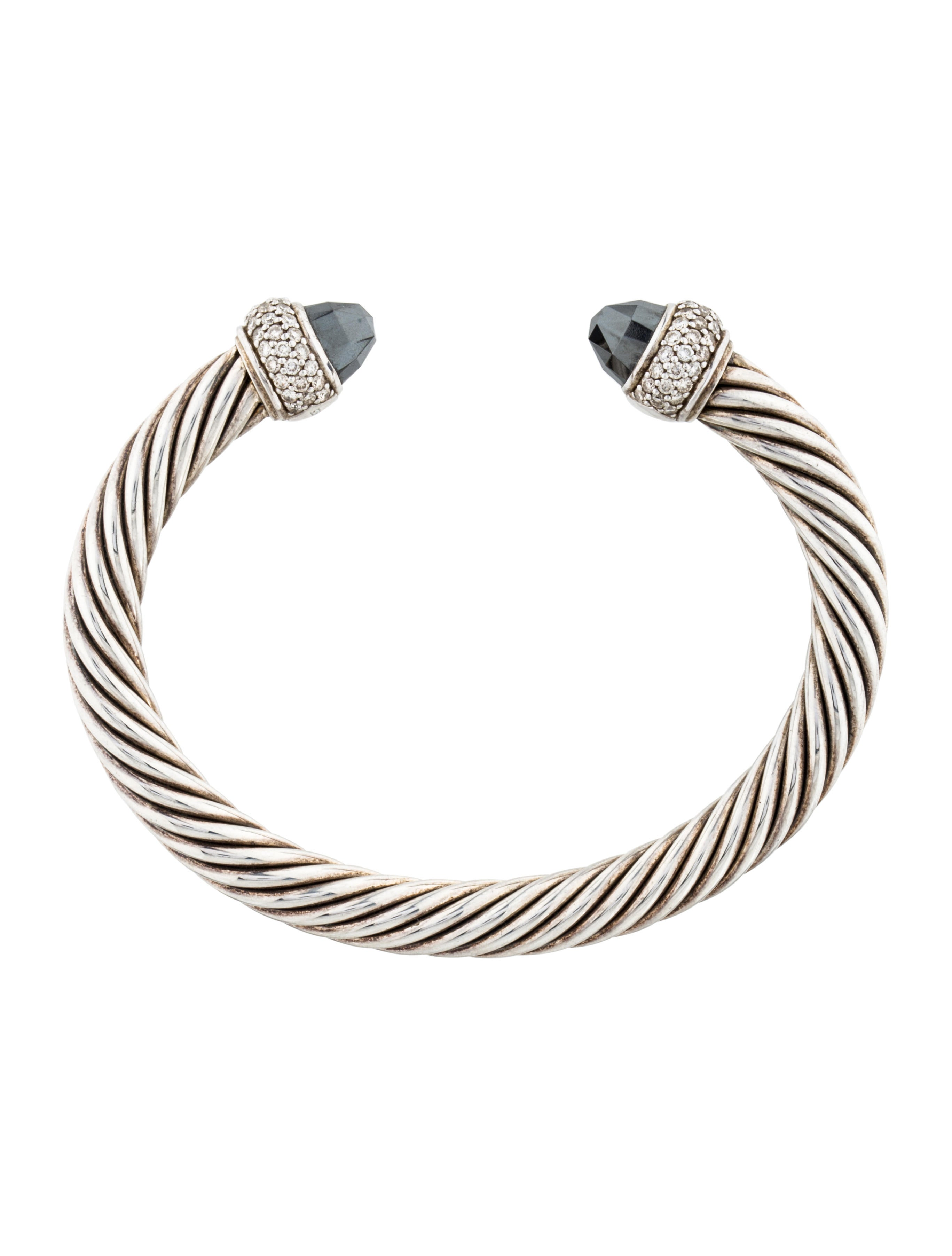 David yurman hematine diamond cable cuff bracelets for David yurman inspired bracelet cable