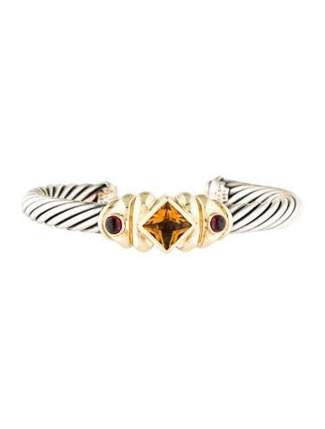 David Yurman Citrine & Tourmaline Renaissance Cable Cuff Bracelet