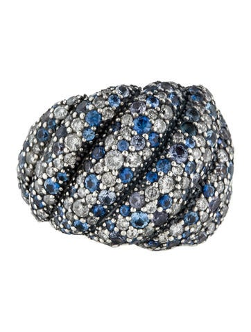David Yurman Sapphire & Diamond Hampton Cable Ring