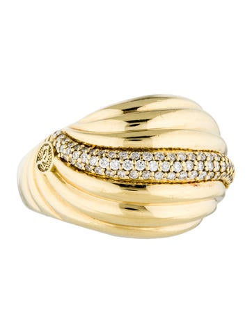 David Yurman 18K Diamond Sculpted Cable Cocktail Ring