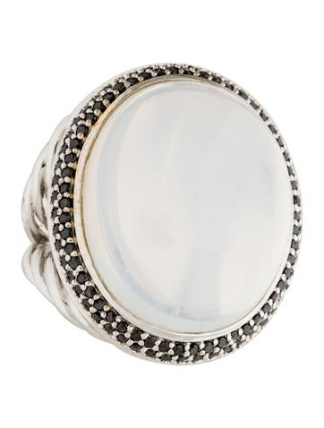 David Yurman Moonstone & Black Diamond Signature Oval Ring