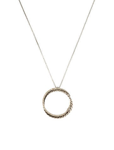 David Yurman Diamond Crossover Pendant Necklace