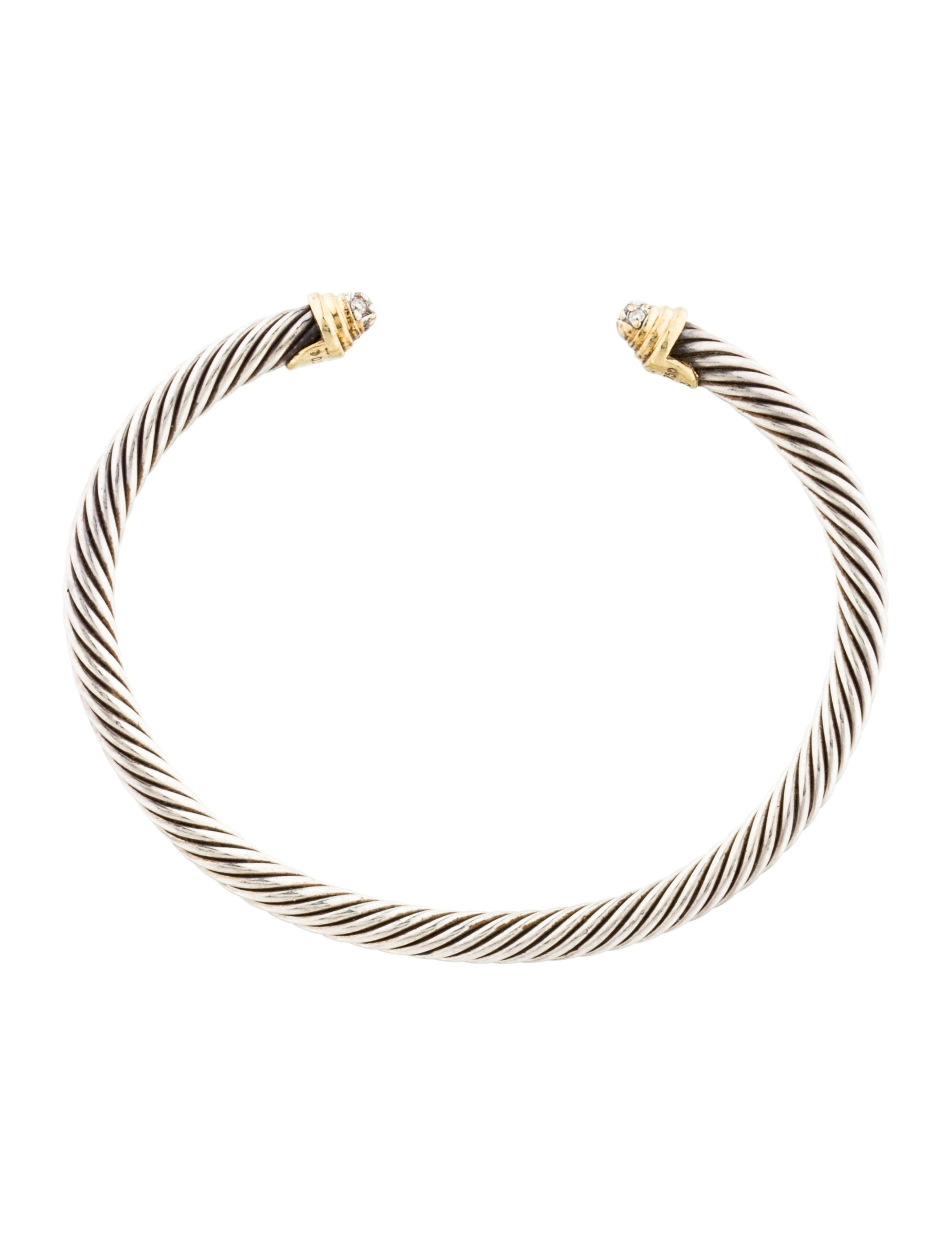 David yurman girls 39 two tone diamond cable bracelet for David yurman inspired bracelet cable