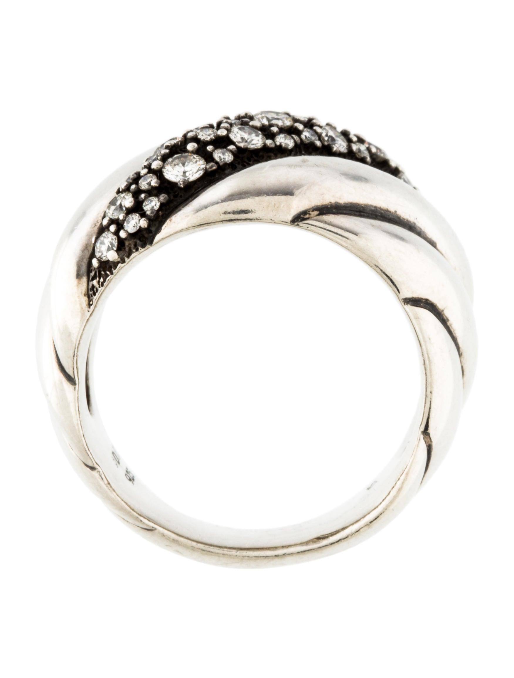 David yurman diamond hampton cable ring rings dvy37666 for David yurman inspired jewelry rings