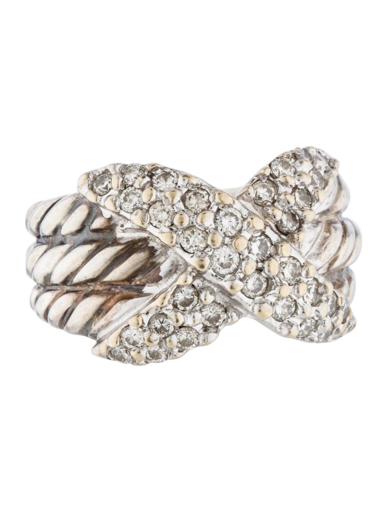 David yurman diamond x cable ring rings dvy37722 the for David yurman inspired jewelry rings