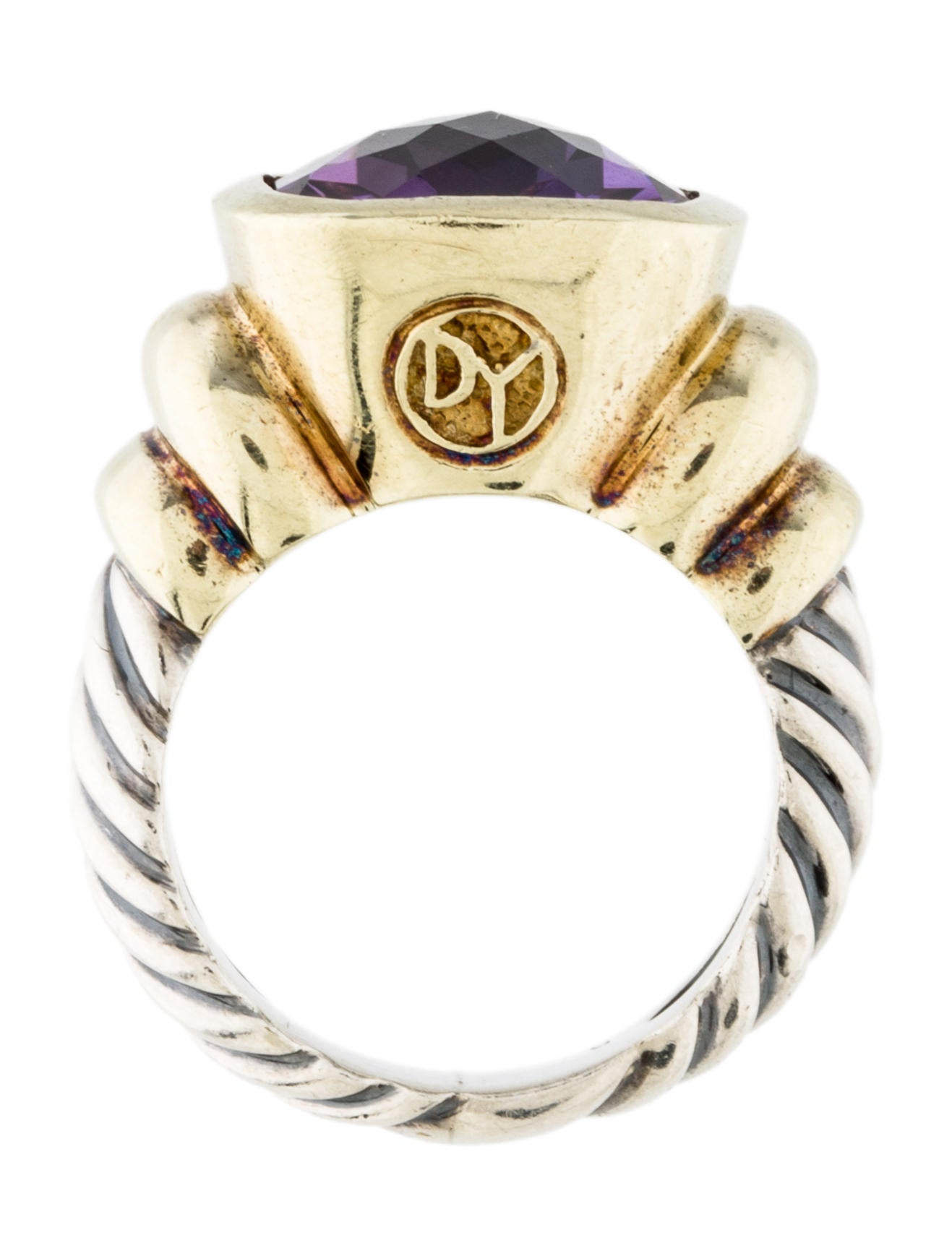 David Yurman Two Tone Amethyst Cocktail Ring Rings