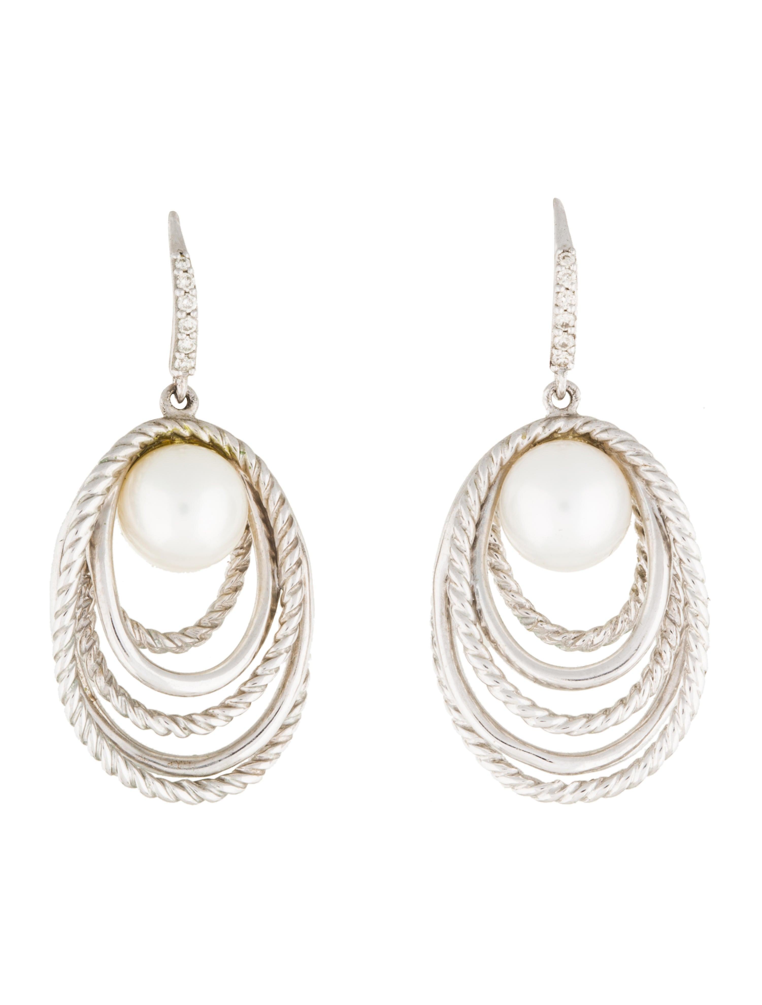 david yurman pearl crossover drop earrings