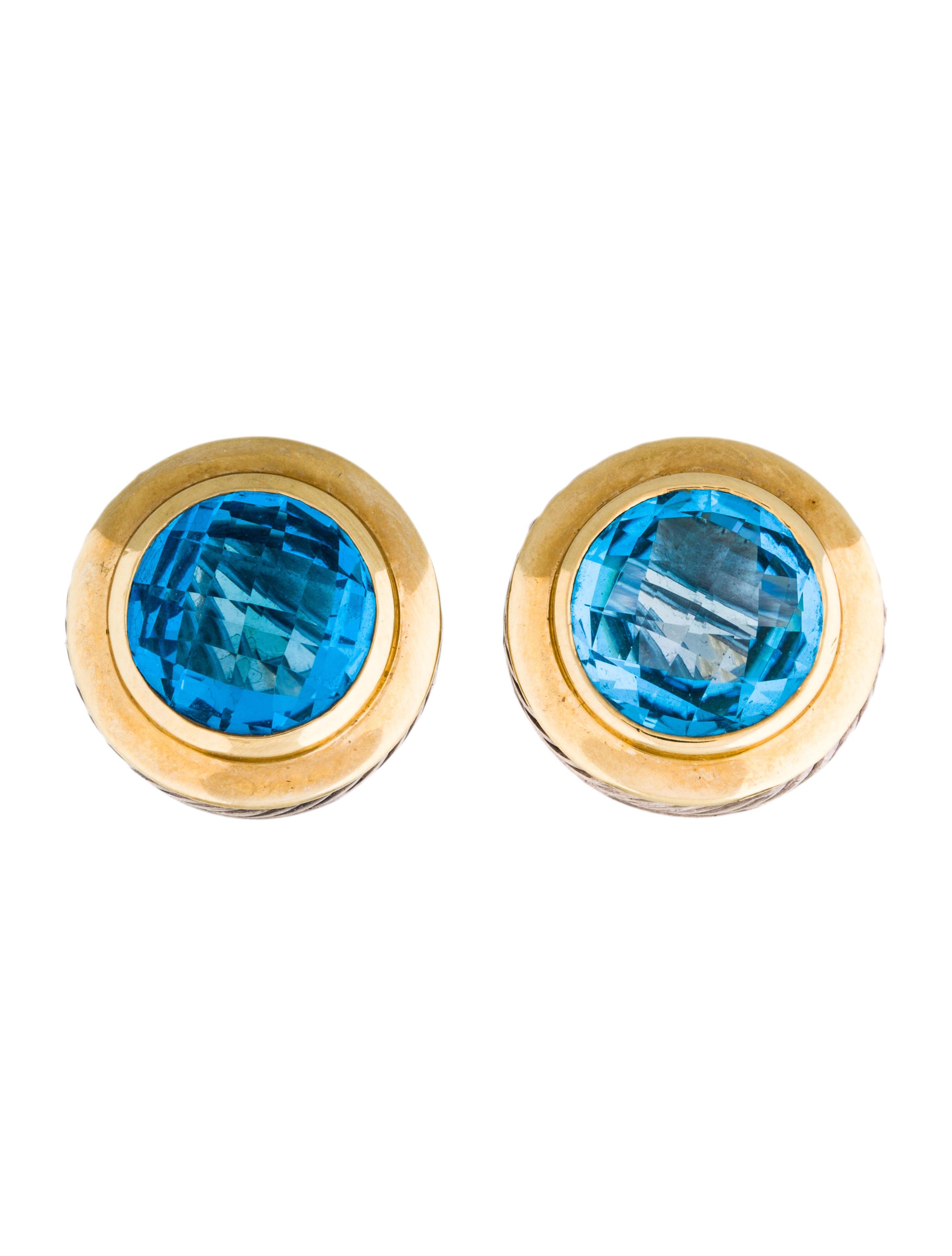 david yurman two tone blue topaz earrings earrings