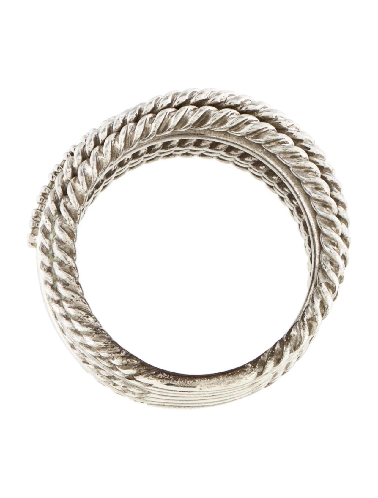 David Yurman Diamond Crossover Wide Ring Rings