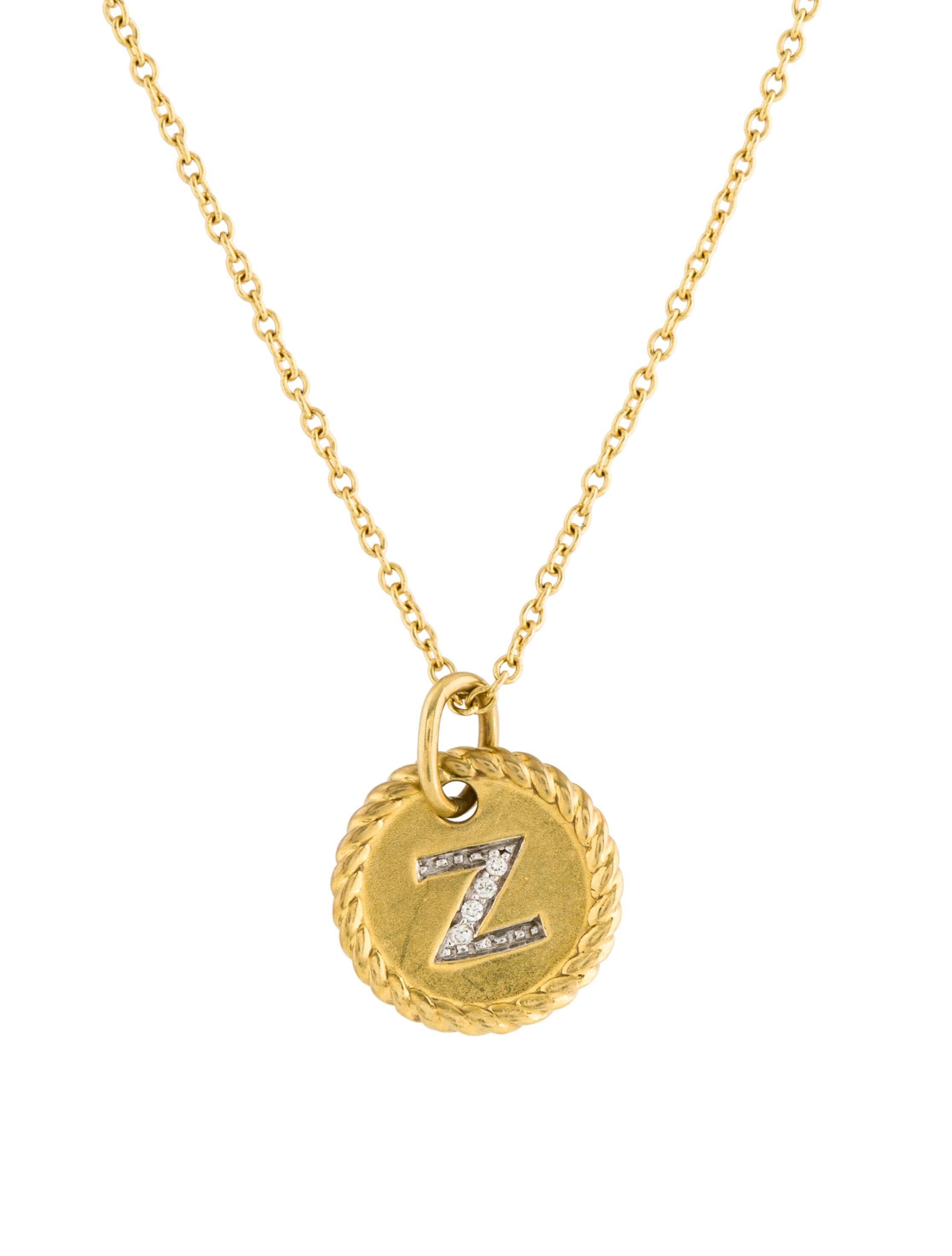 david yurman 18k initial z pendant necklace