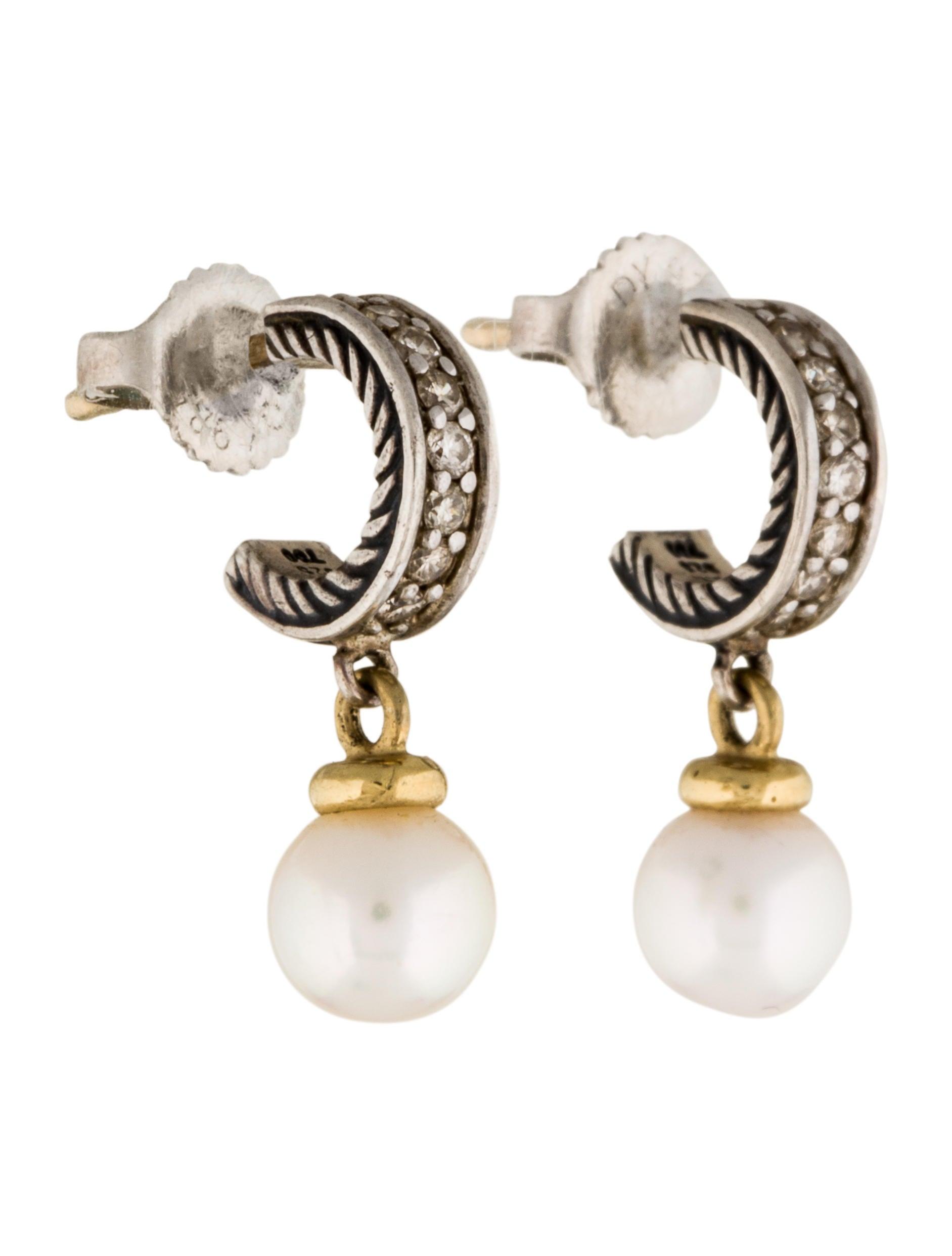 david yurman two tone pearl drop earrings